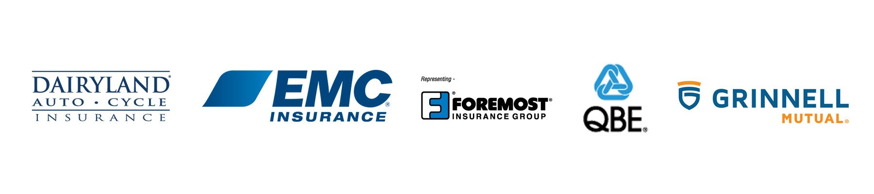 Dairyland Insurance Logo, EMC Insurance Logo, Foremost Insurance Group Logo, QBE Logo, Grinnell Mutual Logo