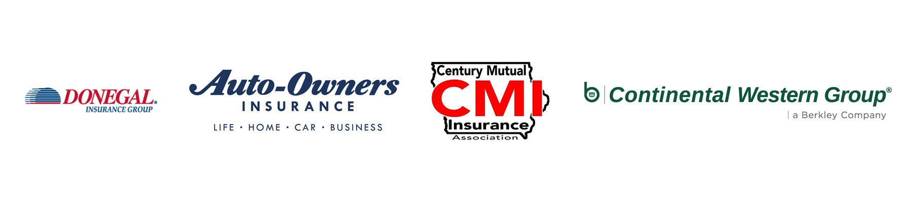 Gonegal Insurance Group Logo, Auto-Owners Insurance Logo, Century Mutual Insurance Association Logo, Continental Western Group Logo, Insurance Services